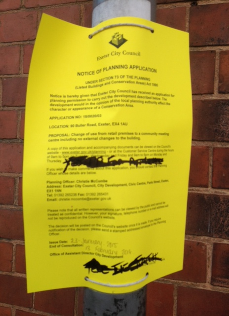 Defaced notification of planning application
