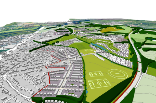 LDA | Birdseye view of illustrative Masterplan