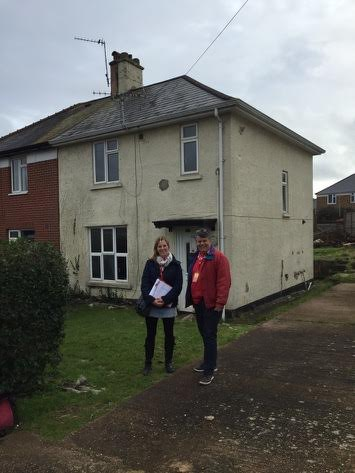 Cllr Hannah Packham and Cllr Paul Bull outside 42 Myrtle Road