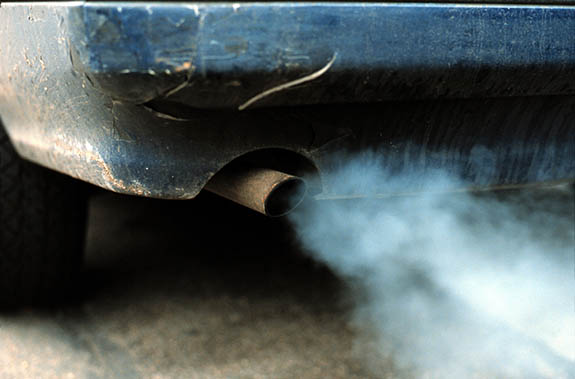 Car exhaust fumes, London.