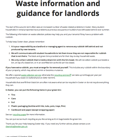 Waste guidance for landlords