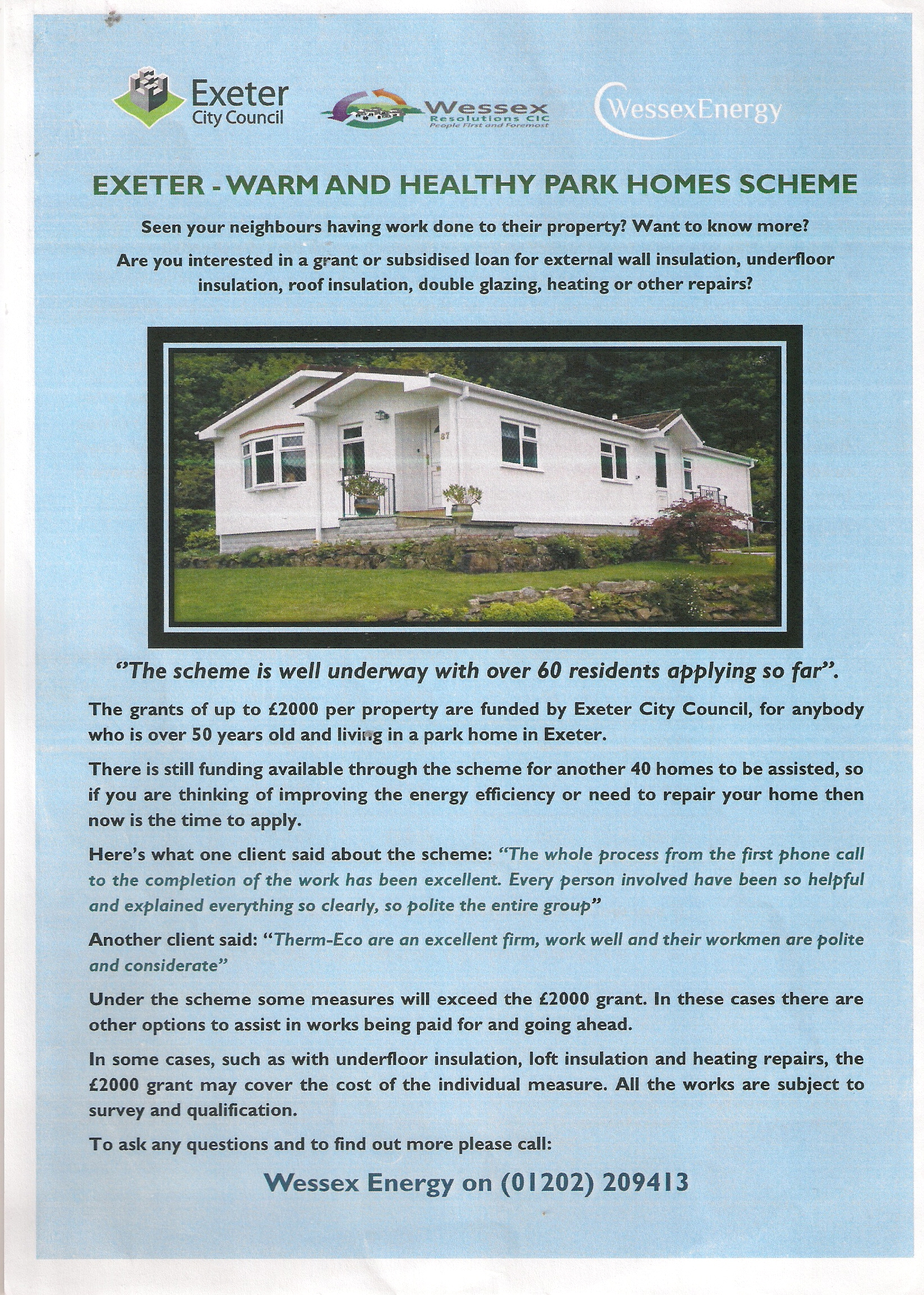 Client Guide On Exeter Warm And Healthy Park Homes Grant