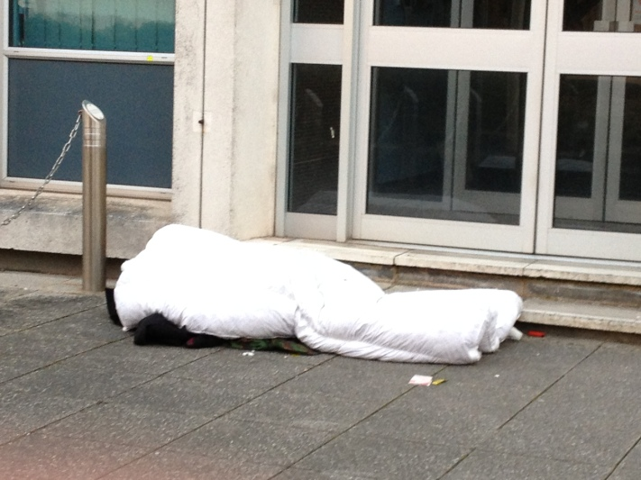 Rough sleeper outside ECC